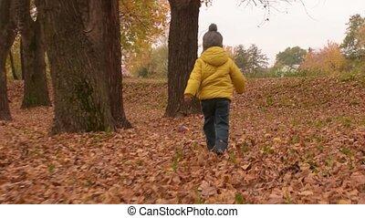 Happy laughing kid runs in autumn park. Smiling three years old boy having fun