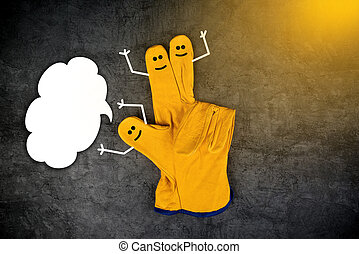 Happy Laughing Smileys on Fingers of Protective Gloves -...