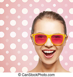 happy laughing teenage girl in pink shades - happiness,...