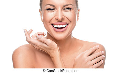 Happy laughing woman over white background