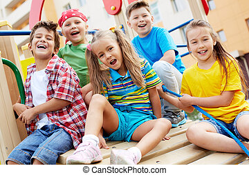 Happy leisure - Image of joyful friends having fun on...