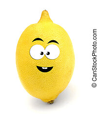 Happy lemon isolated over white background