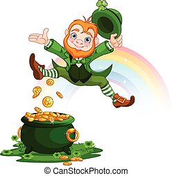 Happy Leprechaun - Illustration of joyful jumping leprechaun