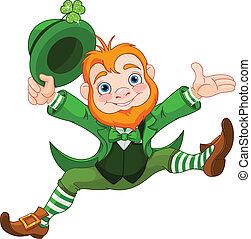 Happy Leprechaun - Joyful jumping leprechaun.