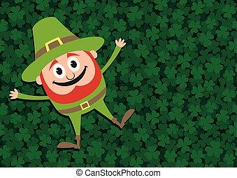 Happy Leprechaun on Clovers