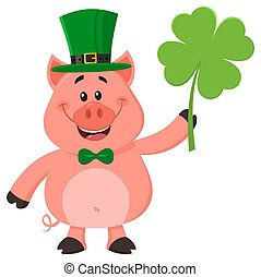 Happy Leprechaun Pig Cartoon Character Holding Leaf Clover