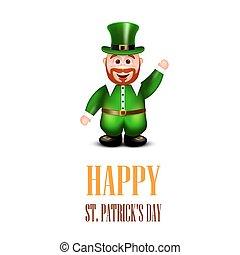 Happy leprechaun waving hand. Saint Patricks Day Card.