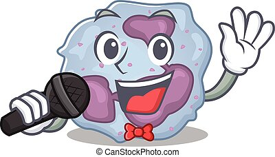 Happy leukocyte cell singing on a microphone. Vector ...