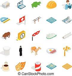 Happy life icons set, isometric style