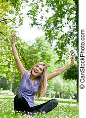 Happy life - woman enjoys outdoors