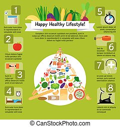 Happy lifestyle infographic with healthy food