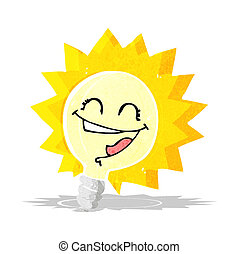happy light bulb cartoon