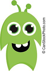 Happy lime green monster vector illustration on white background