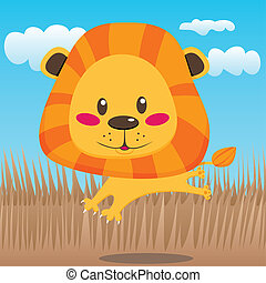 Happy Lion - Cute lion smiling happily jumping and running...