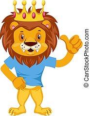 Happy lion, illustration, vector on white background.