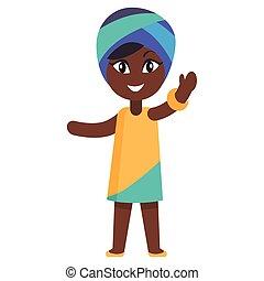 Happy Little Afro-American Girl in Yellow Dress - Happy...