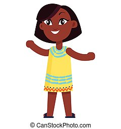 Happy Little Afro-American Girl in Yellow Dress