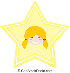 Happy little blond girl with star