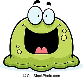 A cartoon illustration of a booger looking happy.