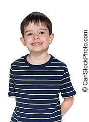 Happy little boy against the white background