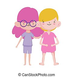 happy little boy and girl cartoon character