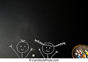 Happy little boy and girl stickman blackboard card.