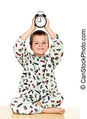 Happy little boy bedtime concept