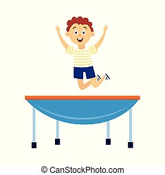 Happy little boy bouncing on blue trampoline - cartoon child jumping in air