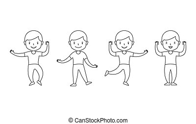 Happy little boy dancing. Character different poses. Vector clipart diverse set isolated on white background. Coloring book