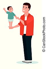 Happy little boy enjoying stands on his father's palm. Cartoon vector flat illustration on white background