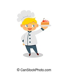 Happy little boy holding plate with tasty cake. Child wearing chef uniform. Flat vector design