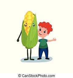 Happy little boy hugging giant sweet corn vegetable character, best friends, healthy food for kids cartoon vector Illustration