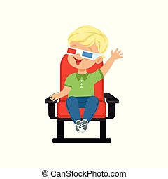 Happy little boy in 3d glasses sitting on red chair and watching 3D movie in the cinema vector Illustration