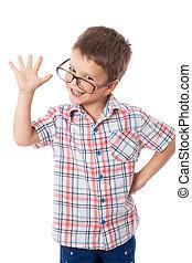 Happy little boy in glasses