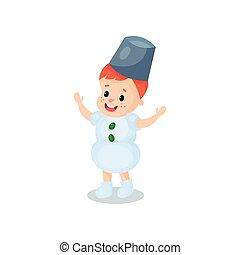 Happy little boy in the costume of snowman, kid in festive...