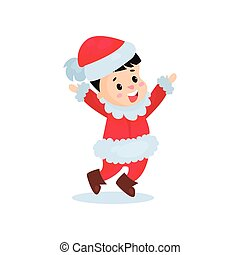 Happy little boy in the costume of Santa Claus, kid in...
