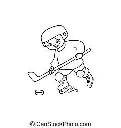 Happy little boy playing hockey, black and white