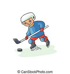 Happy little boy playing hockey, winter activity