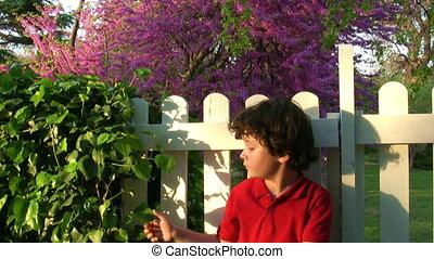 Happy little boy relaxing