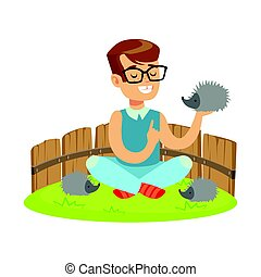 Happy little boy sitting on green grass and playing with hedgehogs in a mini zoo. Colorful cartoon character vector Illustration