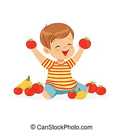 Happy little boy sitting on the floor playing with tomatoes, kids healthy food concept colorful vector Illustration