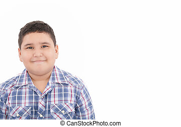 happy little boy smiling isolated on white