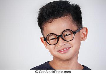 Happy Little Boy Wearing Glasses