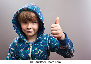 Happy Little Boy with Hoody, Thumbs Up