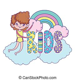 happy little boy with rainbow in the clouds