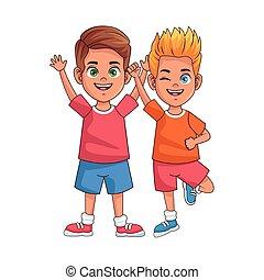 happy little boys avatars characters vector illustration ...