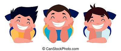 happy little boys characters vector illustration design
