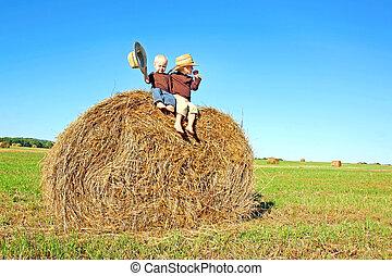 Happy Little Boys Sitting on Big Hay Bale in Farm Field