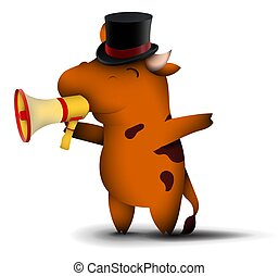 happy little bull in top hat, symbol of 2021 in Chinese calendar with happy smile on face. Speaking into megaphone, New Year sale. Funny animals. Vector