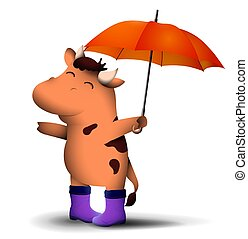 happy little bull, symbol of 2021 Chinese calendar, stands with an umbrella in bright rubber boots with satisfied smile on face. New Year in good mood. Funny animals. Vector